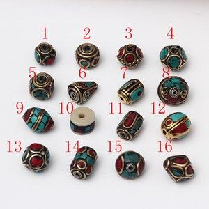 16styles ottone tibetano perline retrò Nepal branelli allentati foro per monili che fanno accessori fai da te braccialetti Boemia dei monili di fascini a buon mercato all'ingrosso