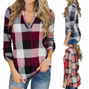 Frauen Plaid gedruckte Designer Blusen Herbst Modedesigner mit V-Ausschnitt Frauen Shirts Tops Langärmlig Apparel