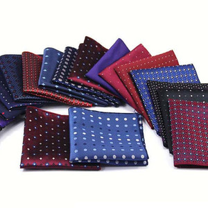 Luxo Homens Polka Dot Polyester Silk lenço de bolso Praça Vintage Wedding Party lenços Peito de toalha 22 * 22CM