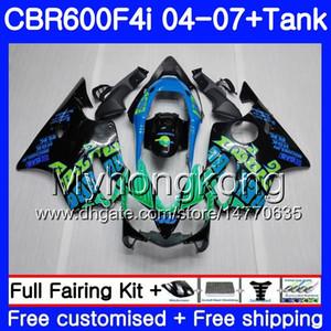 Corps pour HONDA CBR 600F4i CBR600 FS CBR600F4i 04 05 06 07 281HM.0 CBR 600 F4i CBR600 F4i 2004 2005 2006 2007 Kit carénage Repsol bleu noir
