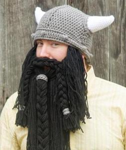 Men's Handmade Knit Long Beard Viking Horn Hat Funny Crazy Ski Cap Barbarian Cool Beanie Cap Mask Halloween Holiday Party Gift
