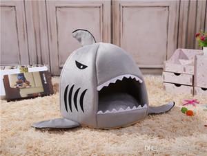 사랑스러운 상어 모양 개 켄넬 고양이 쓰레기 봉제 애완 동물 둥지 침대 이동식 및 빨 매트 애완 동물 공급
