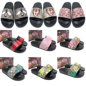 Gucci Designer di lusso di gomma uomini scivolano pantofole sandalo broccato floreale ingranaggi fondo Infradito donne della banda Beach causale pantofola classicflat US5-11