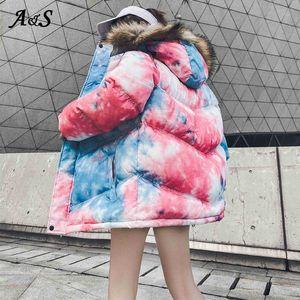 Hip hop Kış Ceket Kadın Coat Parka Kürk Yaka Mujer Bayanlar Puffer Coat Çift Kadınlar / Erkekler Oversize Casaco Streetwear Dış Giyim