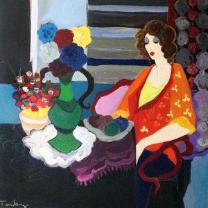 ديكور المنزل جدار الفن النفط الطلاء مجردة على قماش ل جدار امرأة التفكير اليد رسمت اللوحة لا مؤطرة جودة عالية الشكل