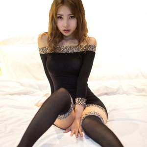 Interesse pijamas saco hip borda leopardo grãos terno longo, mesmo transparente senhora sexy