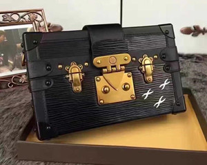2019 Comercio al por mayor de embrague caja original bolsos bolsos de tarde del bolso excelente Monedero de cuero de calidad de la moda de ladrillo hombro del mensajero