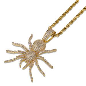 Regalos de la joyería de plata de Hip Hop Negro Oro para hombre cz cúbicos Circonia cadena de araña colgante, collar de diamante helado OutFull rapero de Halloween para los individuos