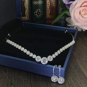 Cubic Zircon Crown Earrings CZ Bride Tiara Set Bridal Jewelry Sets Bijoux Femme Couronne De Mariage Tiaras And Crowns WIGO1122