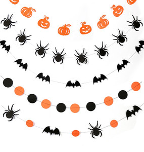 Flores do dia das bruxas Puxando Abóbora Morcego Papel De Aranha Redonda Portátil Pull Flag Chega Nova Com Estilo Diferente 2 8ks J1