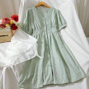 vestido de manga corta de alta cintura 2020 Retro color sólido v-cuello de un solo pecho bellflower vestido