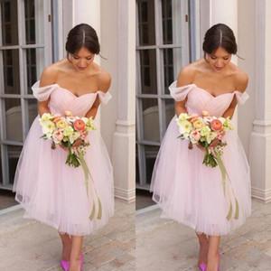 2020 Дешевой Простой Страна платья невеста Blush Pink Ruched тюль с плечом чая длиной горничной честь платья Пляжа Свадьбы