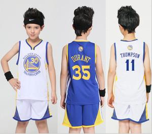 Новые Лучшие продажи Воин Детский № 30 Баскетбольный костюм Детская № 11 Томсон № 35 Размер производителя Джерси Джерси 90-160см