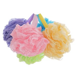 Lace Mesh Pouf Sponge Bathing Spa Handle Body Shower Scrubber Ball Colorful Bath Brushes Sponges ELBA017