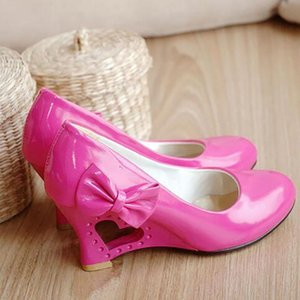 Женщины клинья обувь Sweet Heart Princess Bow женщина Свадебная обувь Лепнина клинья Каблуки Повседневный Женск Большого размера 35-43