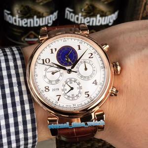 Versione alta Portugieser IW503302 quadrante bianco in pelle cassa in oro rosa meccanico automatico di fase della luna Mens Watch Brown Strap Orologi sportivi