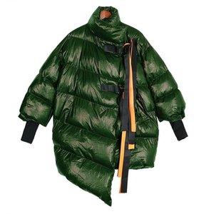 Invierno de las mujeres de plata del tamaño grande de la capa larga de la burbuja cintas sólidas Calentar Parka Damas cazadora estilo de abrigo