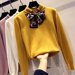 Otoño Invierno Leopard Bow Sexy Suéter grueso Jerseys 2019 Mujeres de manga larga Casual Sweater cálido Mujer Jerséis de punto Top L90