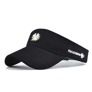 Nuovo cotone stile piccolo crisantemo cappello da sole superiore vuoto del cappello della spiaggia coreana del sole del cappello femminile