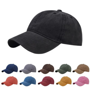 11styles Solid Hat old vintage baseball cap cotton washable adjustable caps outdoor sun cap unisex bend brim cap snapback FFA4142