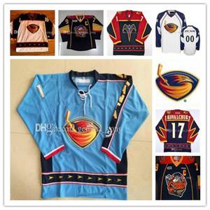 Los hombres de la vendimia de encargo Atlanta Thrashers de hockey jerseys Dany Heatley 15 Tobias Enstrom 39 Marian Hossa 16 Ilya Kovalchuk 17 jerseys de hielo caliente de la venta