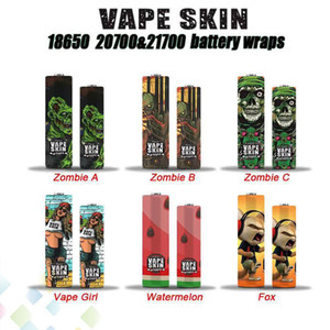 Vape Skin 18650 20700 21700 Batterie Wraps Vaper Wrapper Cover Sleeve Rétractable Enveloppe Thermorétractable Zombie Fille Renard Pastèque DHL Gratuit