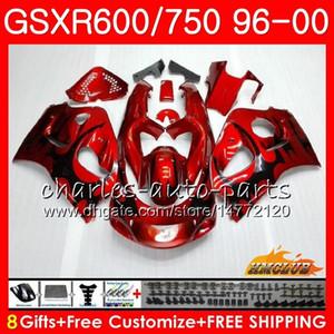 Vücut Suzuki SRAD GSXR 750 600 GSXR600 GSXR750 96 97 98 99 00 1HC.21 GSXR750 GSXR600 1996 1997 1998 1999 2000 Fairing kiti siyah alevler
