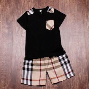 Kids Designer marchio di abbigliamento set della ragazza dei ragazzi del bambino delle attrezzature tasca della tuta sportiva per il tempo libero T-shirt + camicia di estate del vestito di estate dei bambini pantaloncini