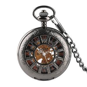 Vintique Kolye erkek Pocket Watch, Adam için siyah Steampunk İskelet Mekanik Cep İzle, Boys için saat Cep Saatleri