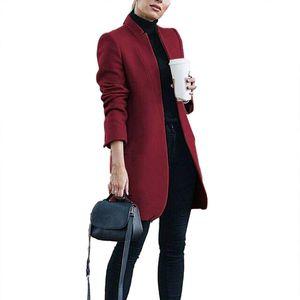 2020 New Plus Size Brasão Womens lã Office Lady Outono cor sólida gola casaco de lã longo casaco de lã das mulheres Clothings Para