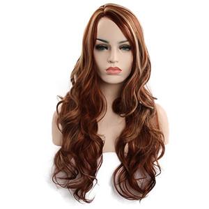 dk.brown Long Wavy wig 65 cm Synthetic Hair Wigs