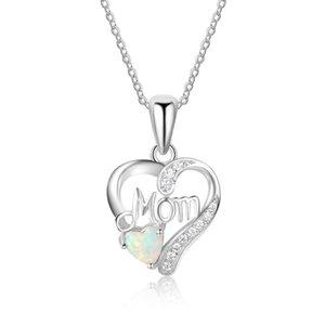 Genuine 925 Sterling Sliver Mulheres Colares Pingentes Com Coração Forma Opala Pedra Melhor Presente Da Jóia Para A Mãe Mãe