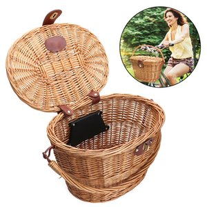 Bicycle Front Basket Wicker MTB Road Bike Basket With Leather Belt Handmade Natural Rattan Bike Storage Cargo Container