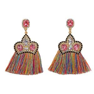 новая модная моды роскоши дизайнер преувеличена мило прекрасного кристалл алмаза корона красочной Богемий кисточки серьга стержня для женщин
