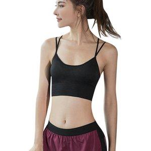 Treino Desportivo Bra Mulheres Gym safra que Tops preto acolchoado Criss Cross Voltar Yoga Bra respirável Wirefree Esporte