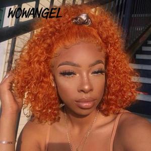13x6 derin zencefil peruk kırmızı 99j bordo dantel ön peruk turuncu renkli insan saç peruk derin dalga bob dantel ön remy wowangel