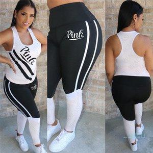 2020 Cartas de Verão Imprimir Womens Clothes Outfit Verão sem mangas colete T-shirt + Calças Legging 2Pcs / Set Treino Sportswear D42706 VENDA
