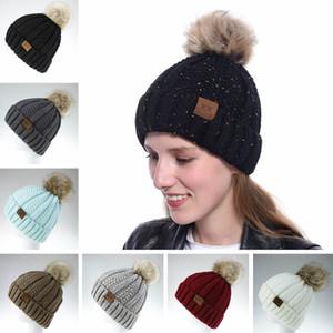Frau gestrickte mütze hüte mok dame einfarbig weichen pompon kappe im freien klassische winter warm ski kappe weihnachtsfeier hut tta1781