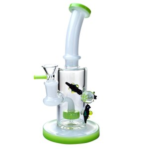 Wholesale Smoking Heady Glass Waterpipe Bong Showerhead Perc Glass Bong Recycler Pipes Klein Dab Oil Rigs Purple Water Pipe With Bowl