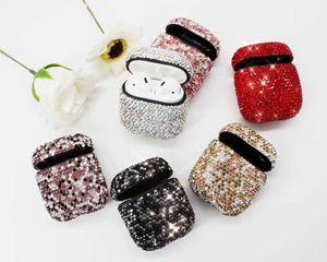 La cubierta protectora de lujo de TPU del diamante lleno decorativo de Bling para los auriculares de Apple Airpods cubre la cubierta de piel de la bolsa