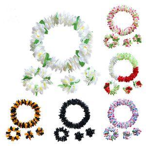 4pcs Set Hawaiian Hula Leis Festive Beach Party Garland Necklace Flowers Wreaths Artificial Silk Wisteria Garden Party Decorative 20 Colors