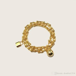 stainless steel gold plated ball and lock chain bracelets for women new arrival hot selling new luxury fashion jewelry