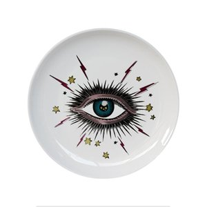 Placa 8inch Big Eye Starry Sky decorativa cerâmico redondo Dish Cat Head Jóias de armazenamento Dish Artístico Sky Eye placa de forma colorida