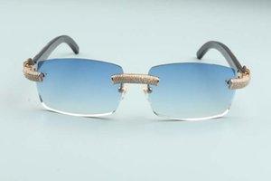 2020 Новые роскоши и рога же мужчин кадр алмазные очки черные солнцезащитные очки натуральный T3524012-28 Текстурированные полноценные женщины OTRFK