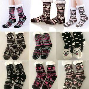 Новое поступление тепловой флис зимние тапочки носки олень теплый уютный пушистый флис-подкладка гольфы зимние носки для рождественского подарка
