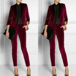 2020 Modern Burgonya Kadife Kadınlar Bayanlar Suit Gelin Suits Biçimsel İş Kadınları Ofisi Pantsuits Elbise 2 adet Anne