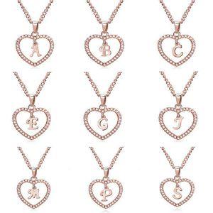 الكلاسيكية وارتفع الذهب 26 رسالة الماس معبد الحب قلادة القلب قلادة الأبجدية A-Z الأولية رسالة المرأة قلادة مجوهرات سفينة هدية مجانية