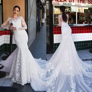 Exquisite Long Sleeves Mermaid Lace Wedding Dress Illusion 2020 Sheer Country Bridal Gown Plus Size Bride Dress