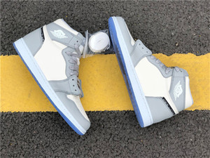 2020 authentiques 1 Haute OG Faible Basketball Chaussures Homme Loup gris Voile Photon poussière blanche entraîneurs des hommes de sport Chaussures de sport avec la boîte originale