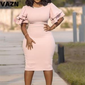 VAZN Hot плюс размер барышня Примечание зрелого возраста Sexy Комбинезон Daily Неопрятная Половина рукава высокой талии женщин Карандаш Midi платье